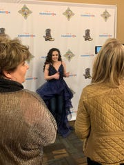 Chevel Shephered responds to a question during a press conference before her free concert Saturday night at the Farmington Civic Center.
