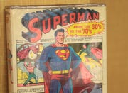 A Superman comic book is on display at a vintage toy show in Palm Springs, Calif., Sunday, January 27 , 2019.