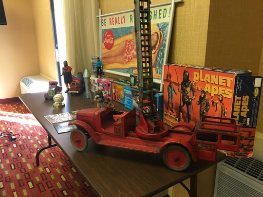 Toy expert Joel Magee appraised and purchased vintage toys in the Coachella Valley over the weekend. This firetruck from the 1920s sold for $50.