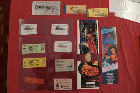 Vintage Disneyland passes are on display at a toy show in Palm Springs, Calif., Sunday, January 27 , 2019.
