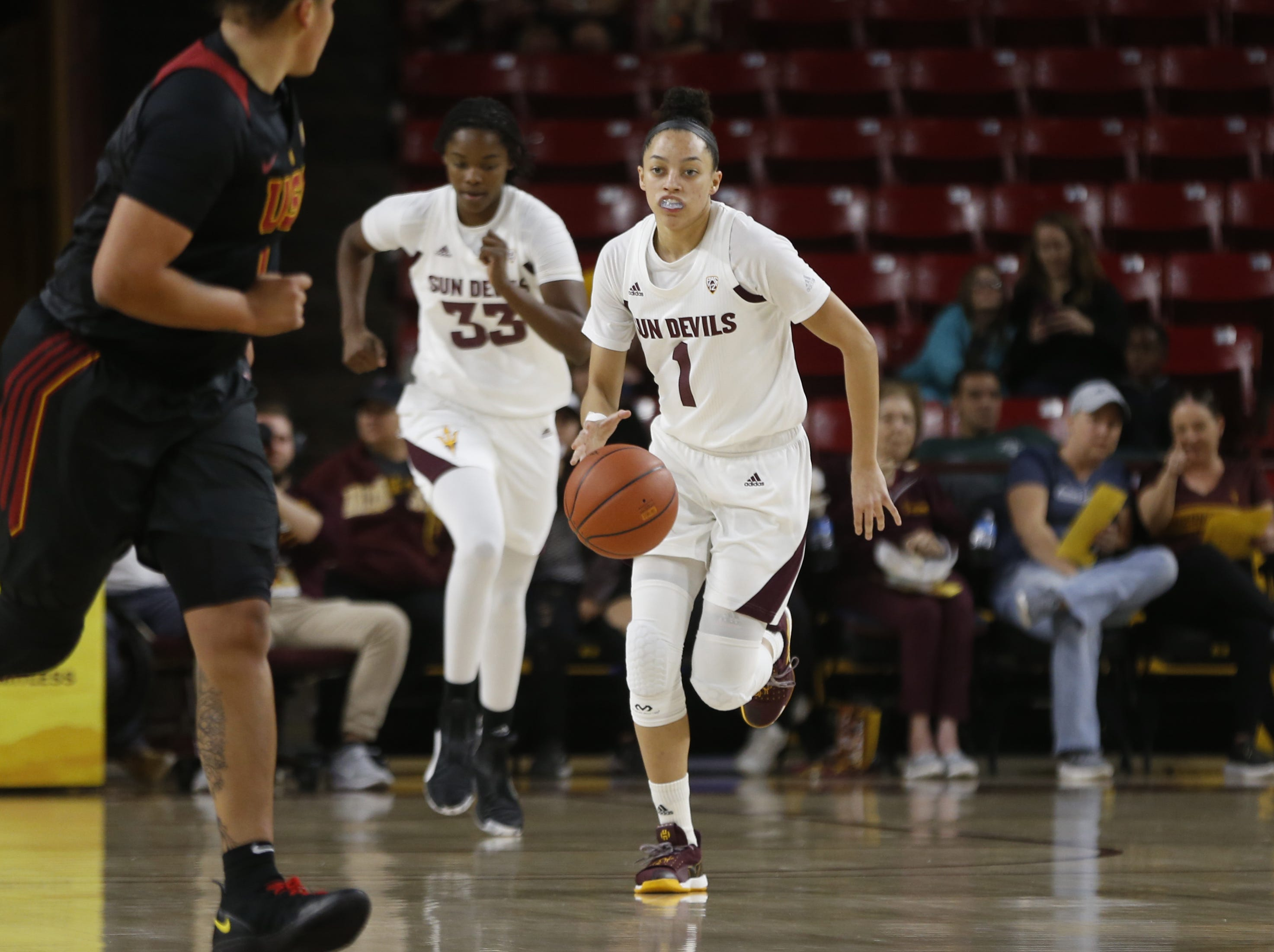 ASU's Reili Richardson (1) drives down the court against USC during the first half at Wells Fargo Arena in Tempe, Ariz. on January 27, 2019.
