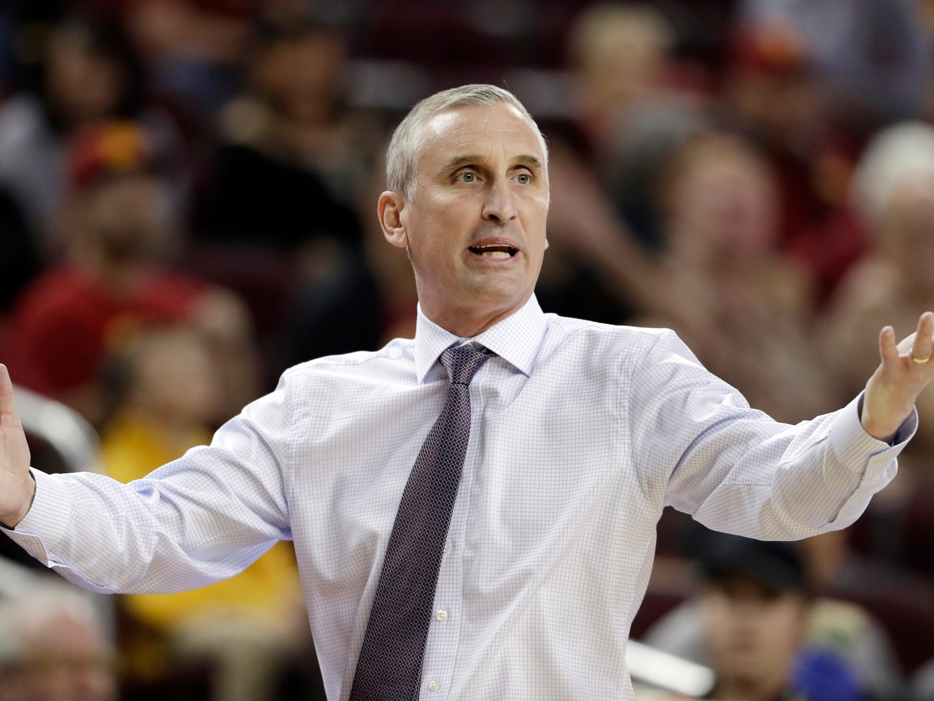 Arizona State head coach Bobby Hurley argues a call during the first half of an NCAA college basketball game against Southern California, Saturday, Jan. 26, 2019, in Los Angeles.