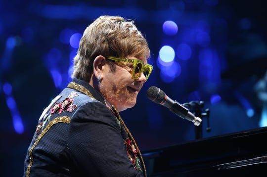 "Elton John performs during his ""Farewell Yellow Brick Road Tour"" at Gila River Arena on Jan. 26, 2019 in Glendale, Arizona."