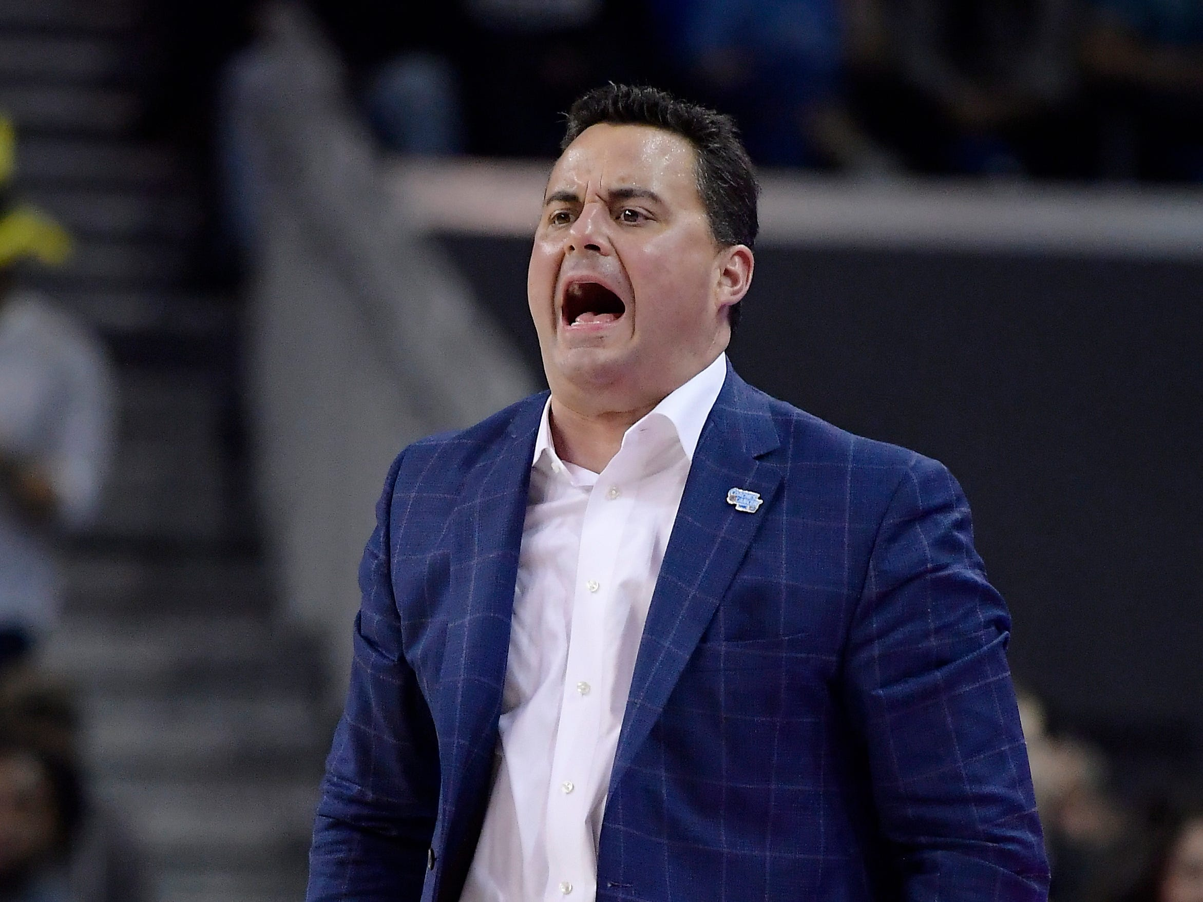 Arizona coach Sean Miller yells to his team during the second half of an NCAA college basketball game against UCLA on Saturday, Jan. 26, 2019, in Los Angeles. UCLA won 90-69.