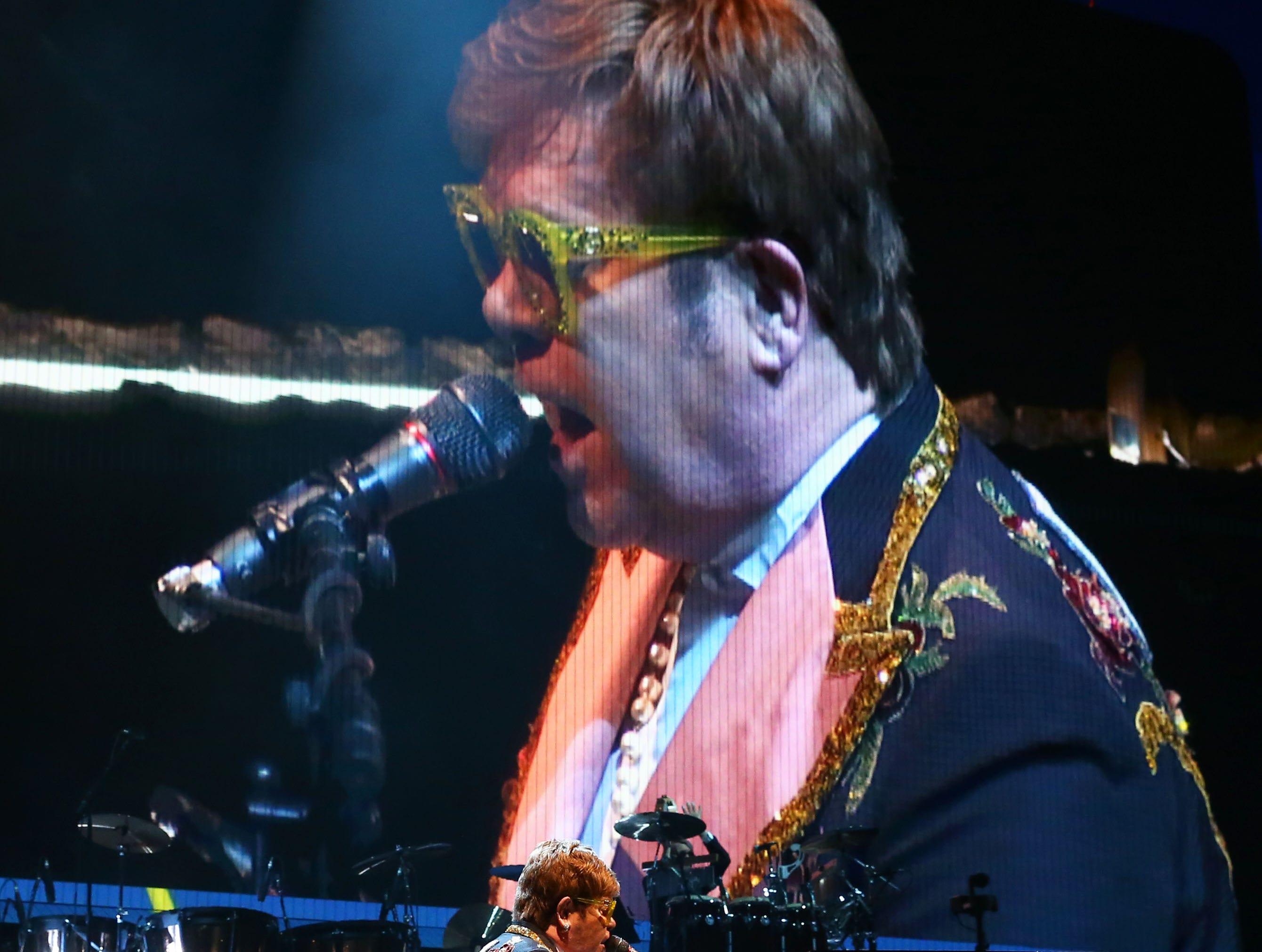 "Elton John performs during his ""Farewell Yellow Brick Road Tour"" at Gila River Arena on Jan. 26, 2019 in Glendale, Arizona."