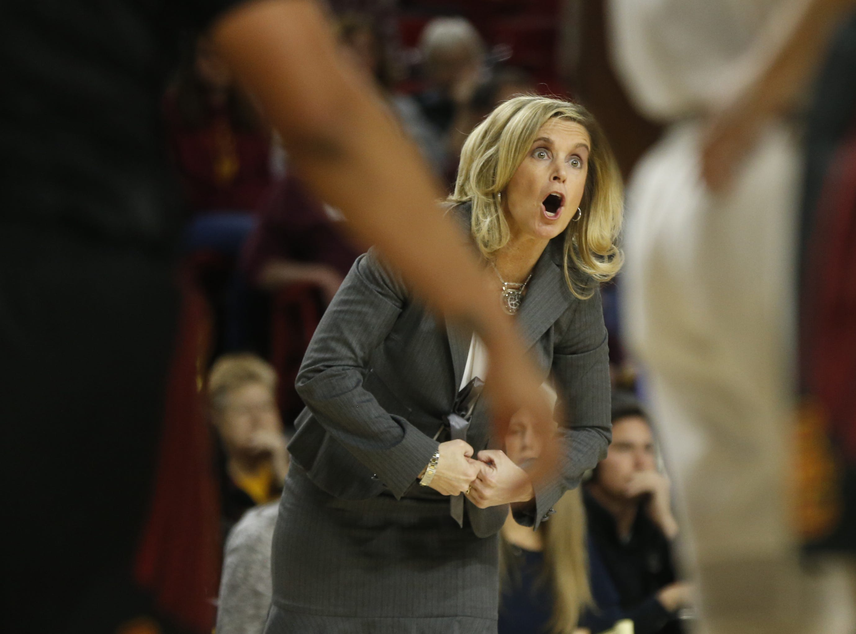 ASU's head coach Charli Turner Thorne yells to her team during the second half against USC at Wells Fargo Arena in Tempe, Ariz. on January 27, 2019.