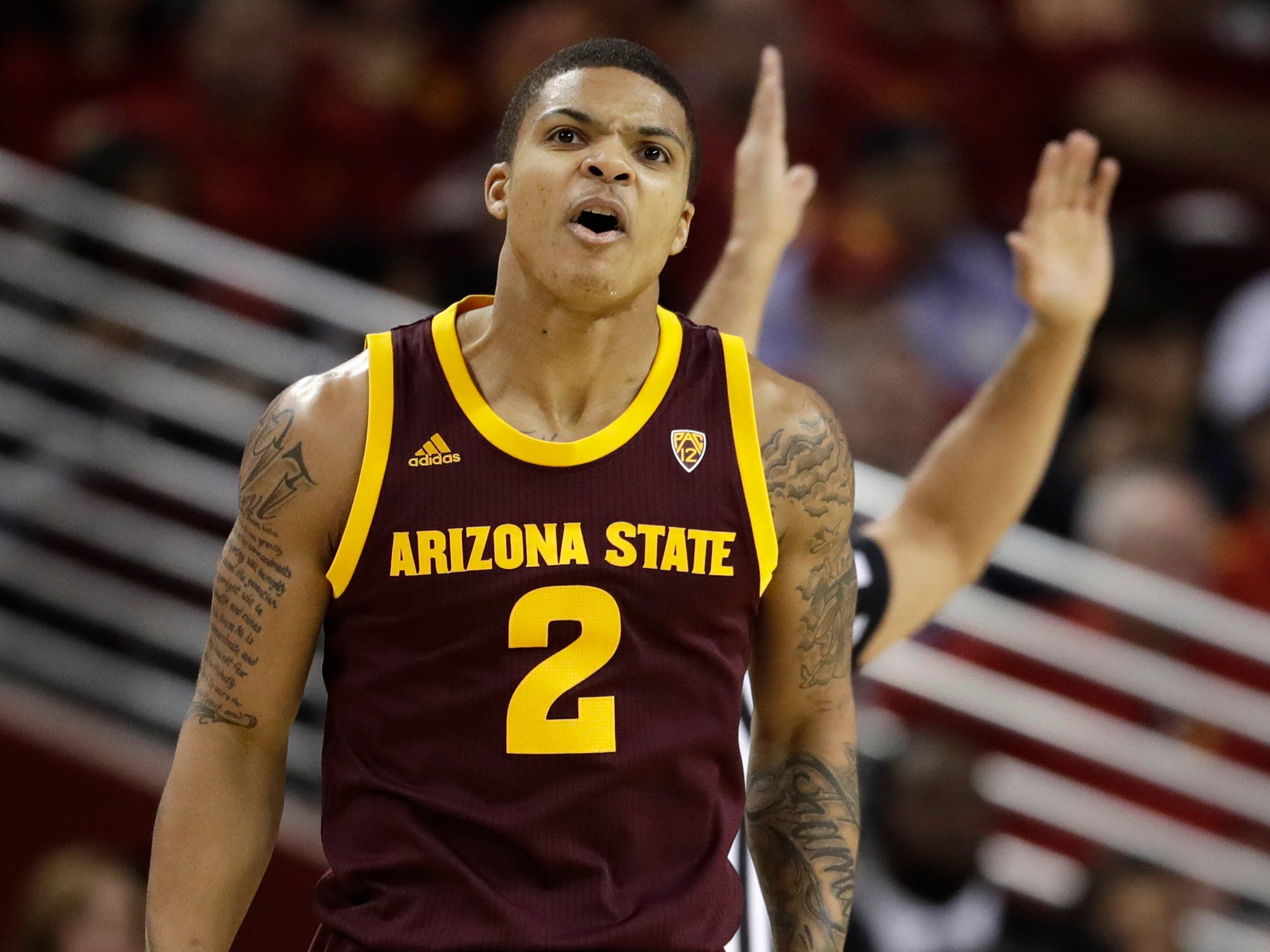 Arizona State guard Rob Edwards (2) reacts after making a three-point basket against Southern California during the first half of an NCAA college basketball game Saturday, Jan. 26, 2019, in Los Angeles.
