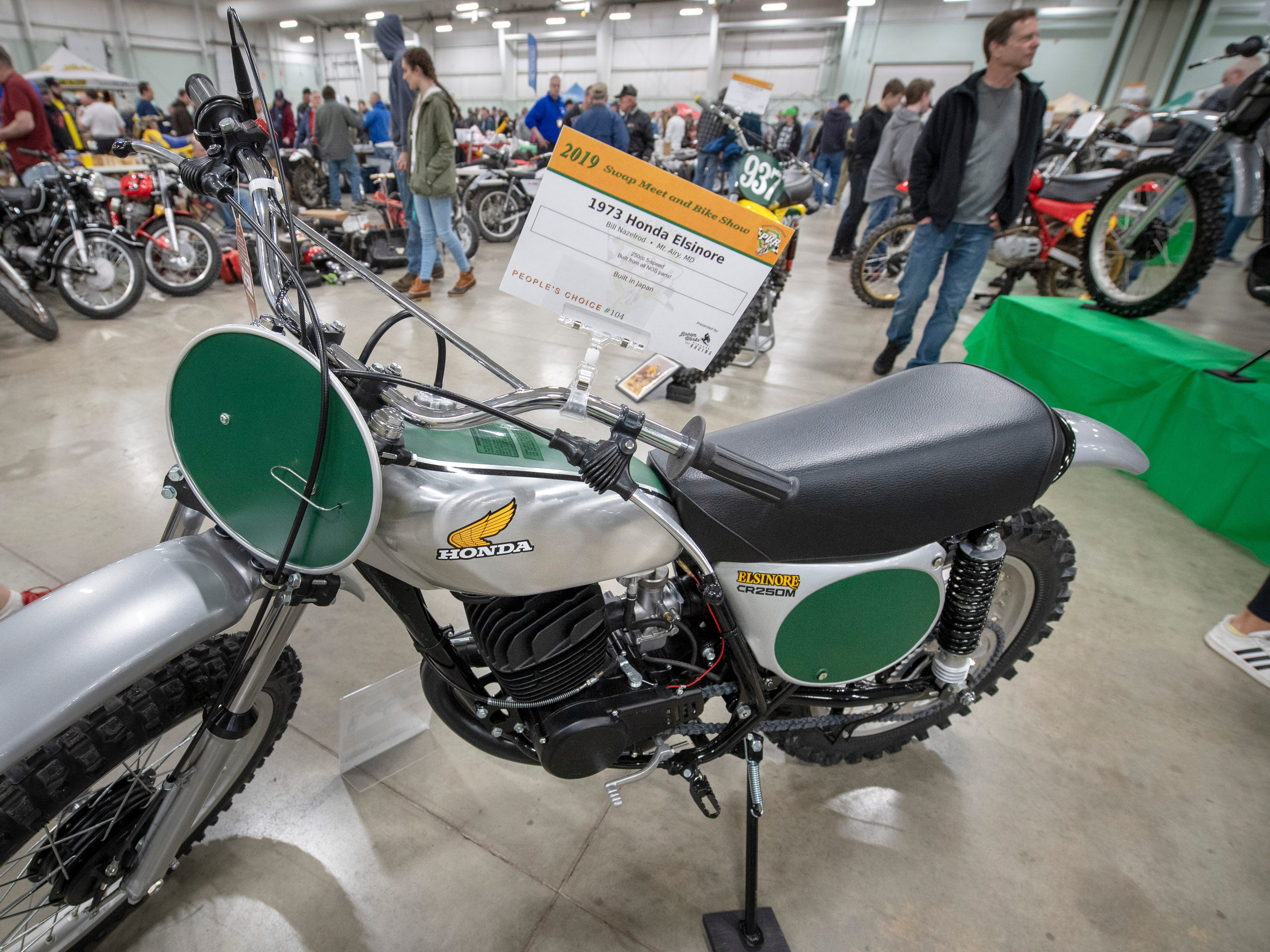 A 1973 Honda Elsinore on display during the The Potomac Vintage Riders' York Swap Meet Sunday January 27, 2019 at the York Expo Center.