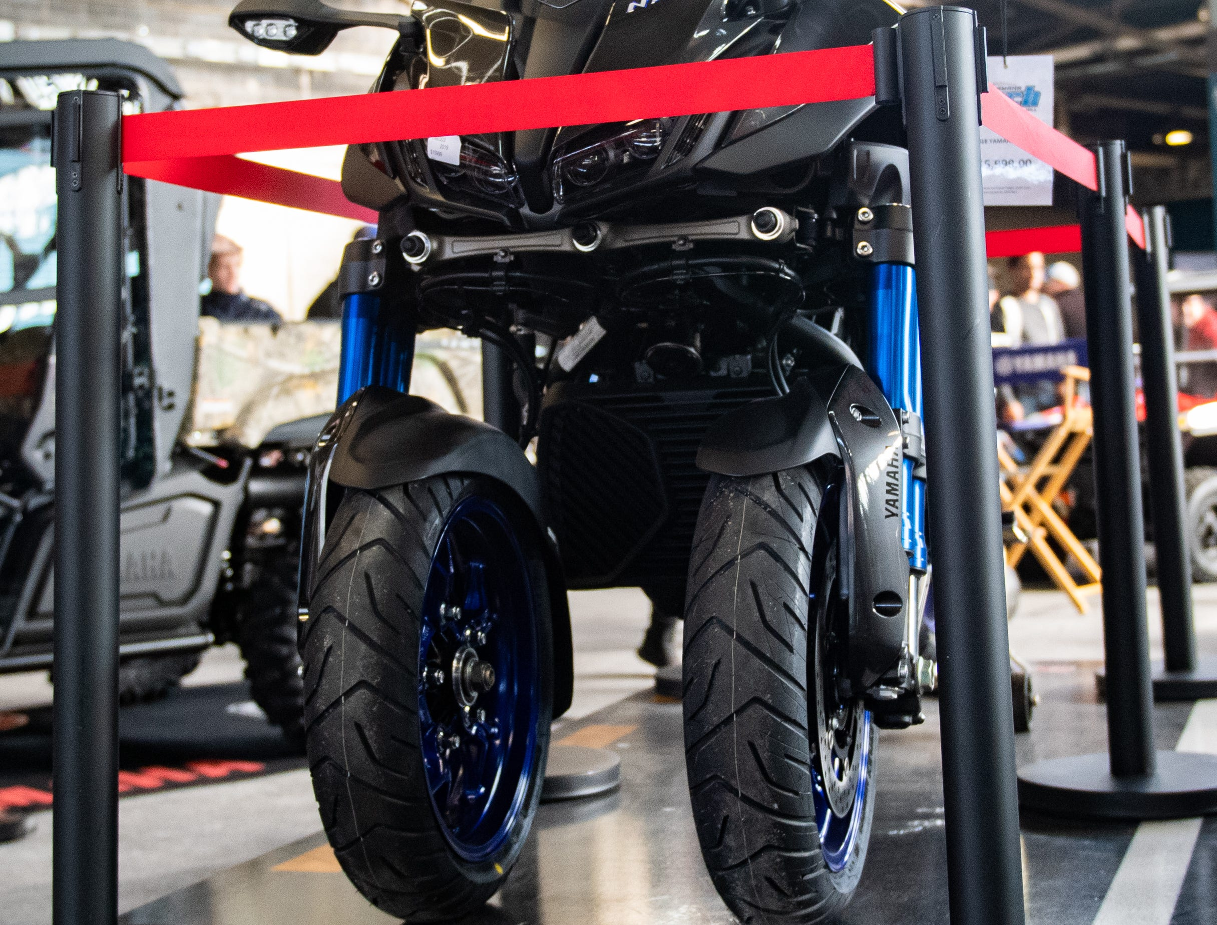 A Yamaha three wheeled motorcycle sits on display at the 2019 Pennsylvania Auto Show, Saturday, January 26, 2019 at the Pennsylvania Farm Show Complex & Expo Center. The auto show continues on Sunday from 10 a.m. to 5 p.m.