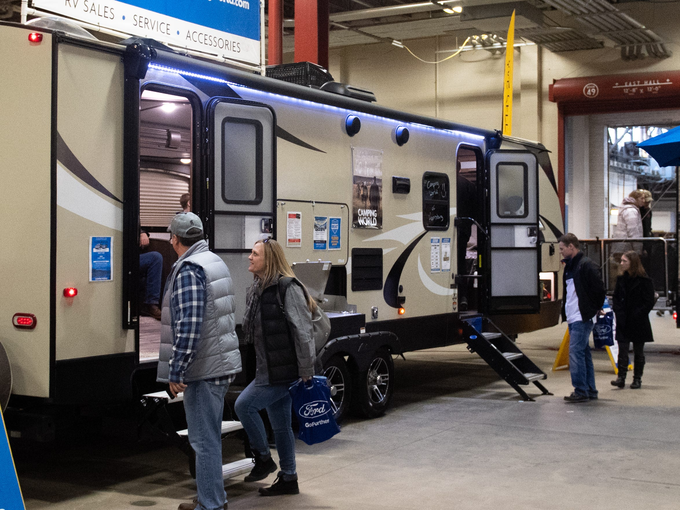 Exhibitors check out the RV section during the 2019 Pennsylvania Auto Show, Saturday, January 26, 2019. The auto show continues on Sunday from 10 a.m. to 5 p.m.