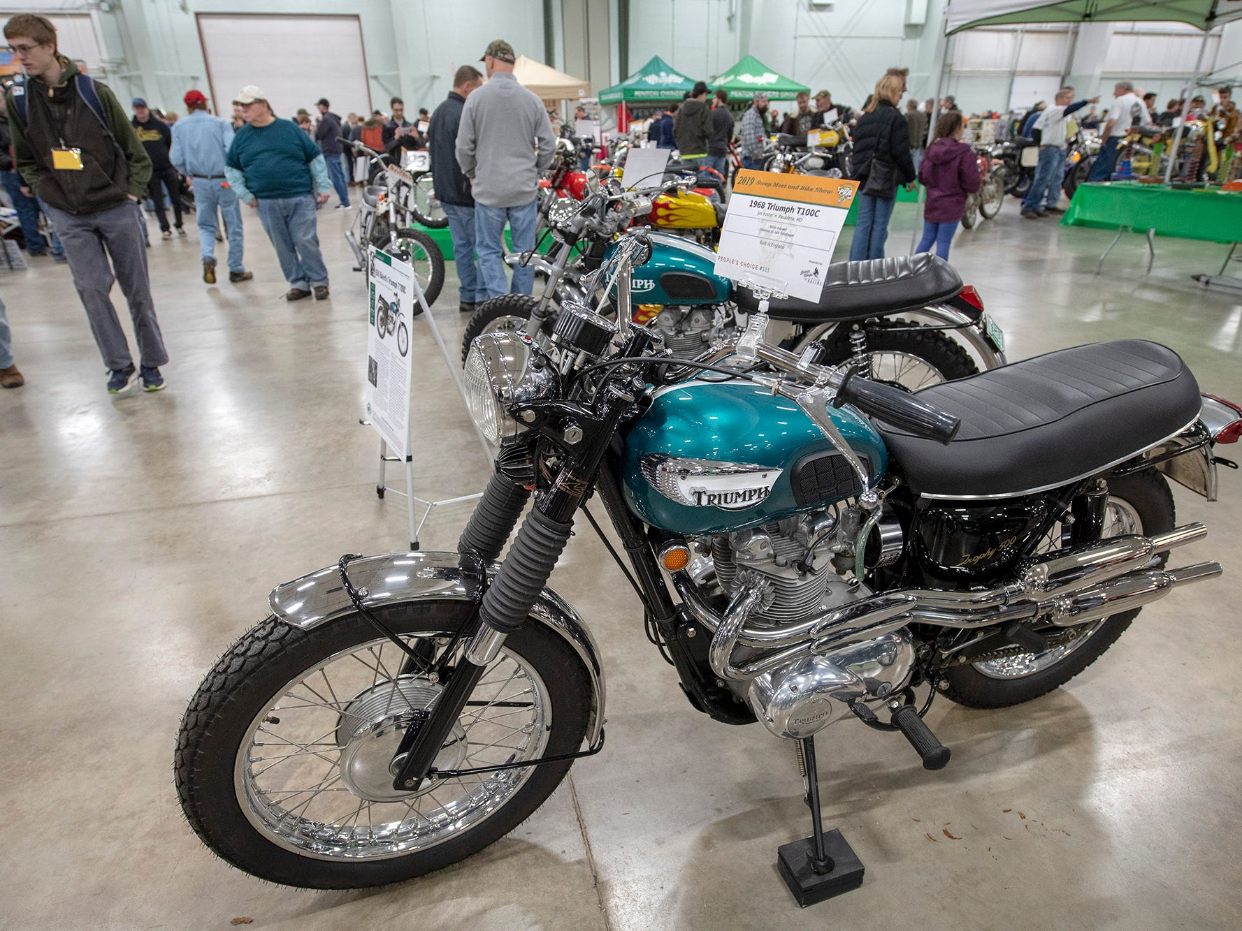 A 1968 Triumph motorcycle on display during The Potomac Vintage Riders' York Swap Meet Sunday January 27, 2019 at the York Expo Center.