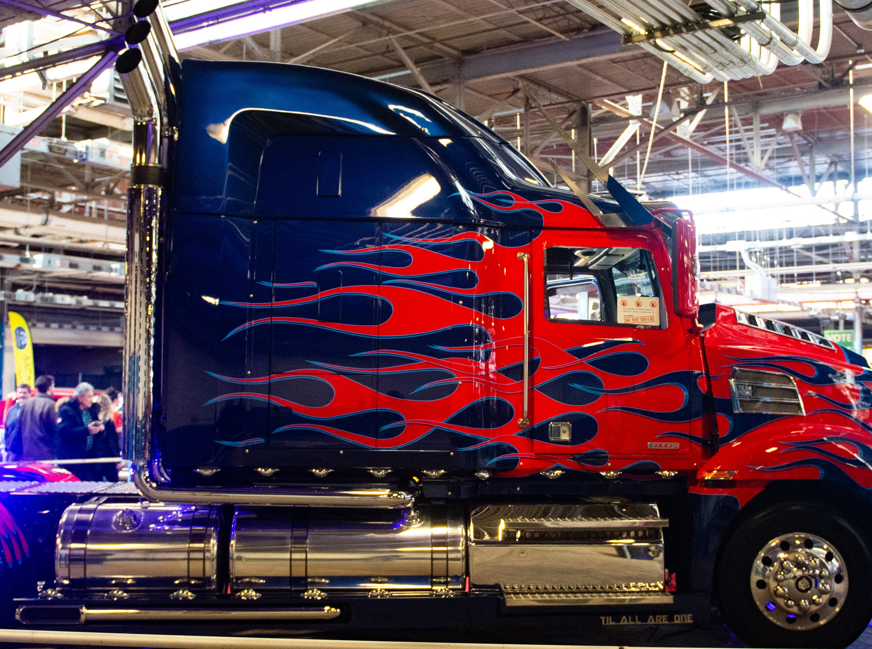 A tractor trailer painted the same way as Optimus Prime, sits in the show room during the 2019 Pennsylvania Auto Show, Saturday, January 26, 2019 at the Pennsylvania Farm Show Complex & Expo Center. The auto show continues on Sunday from 10 a.m. to 5 p.m.
