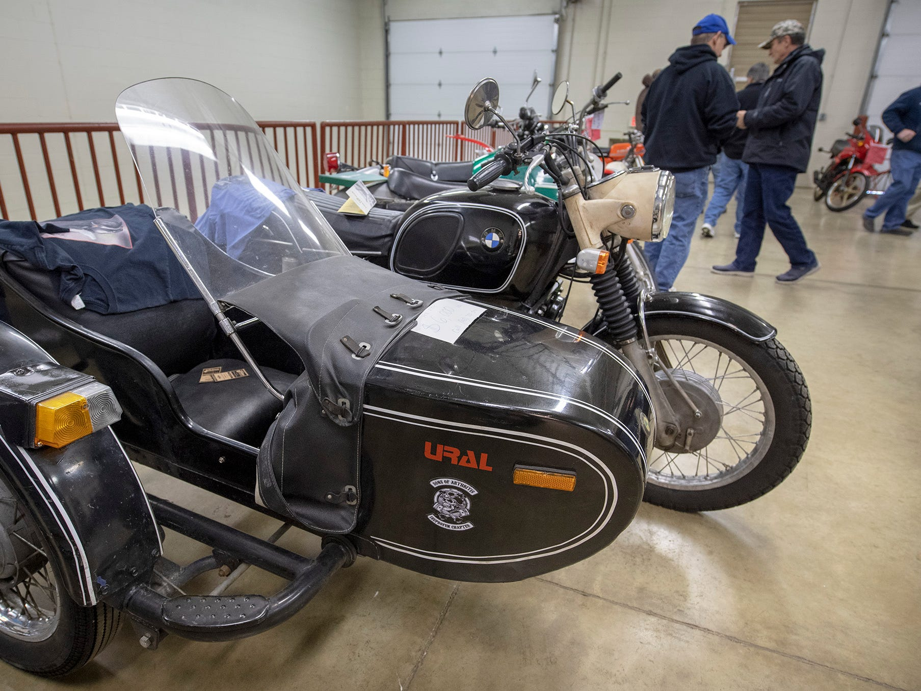 A 1971 BMW R75/5 with a side car for sale inside the Bike Corral during the The Potomac Vintage Riders' York Swap Meet Sunday January 27, 2019 at the York Expo Center.