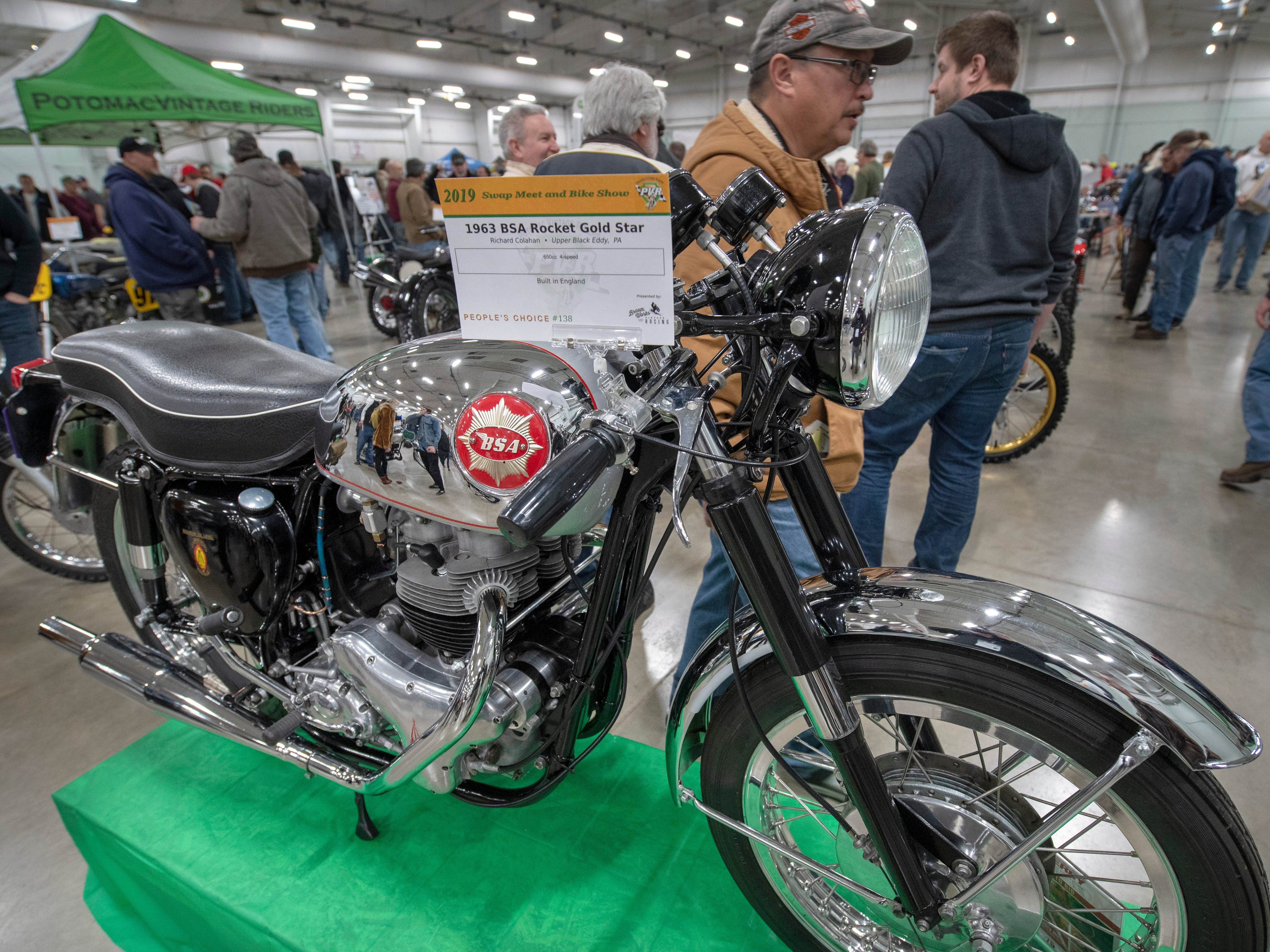 A 1963 BSA Rocket Gold Start on display during The Potomac Vintage Riders' York Swap Meet Sunday January 27, 2019 at the York Expo Center.