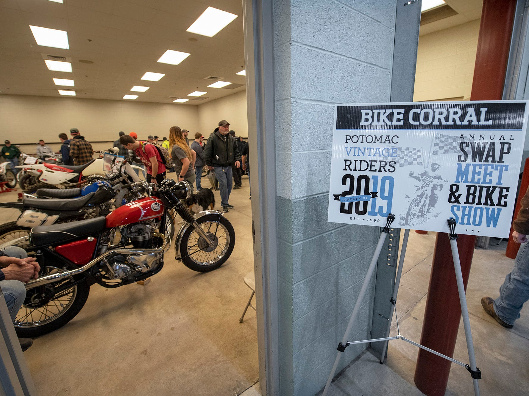 New for this year was the Bike Corral, a dedicated room where attendees could bring motorcycles they wanted to sell, during the The Potomac Vintage Riders' York Swap Meet Sunday January 27, 2019 at the York Expo Center.