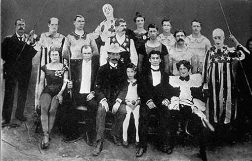 Harry and Bess Houdini are on the right in the front row of this photo of Welsh Circus performers.