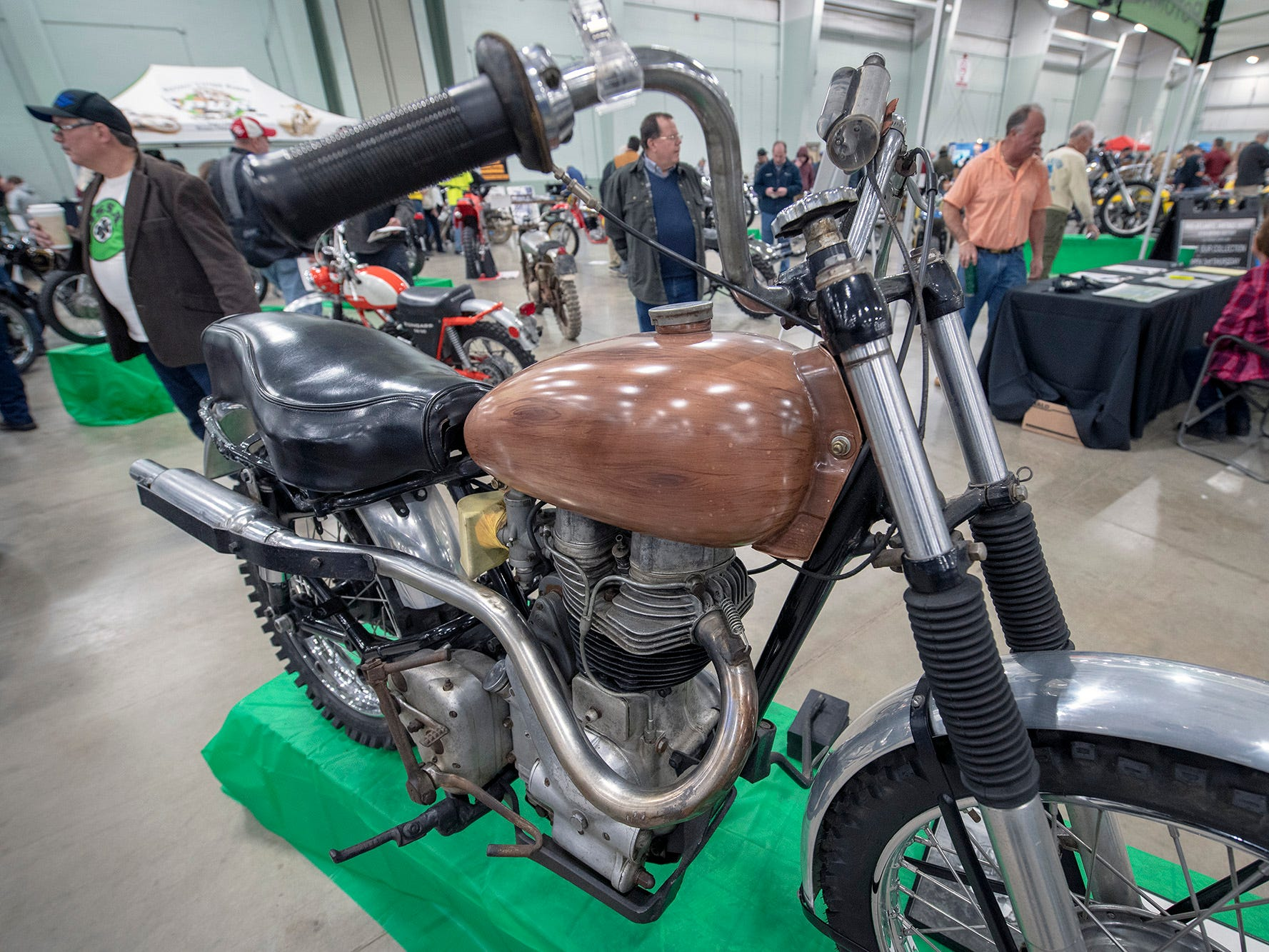 This 1955 Indian Woodsman, complete with a wood grained painted tank, was actually a Royal Enfield, but labeled and sold as an Indian. The bike that originated near Philadelphia was one of the display bikes during the The Potomac Vintage Riders' York Swap Meet Sunday January 27, 2019 at the York Expo Center.