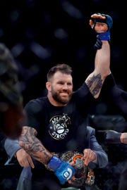 Ryan Bader celebrates his knockout win against Fedora Emelianenko during their mixed martial arts heavyweight world title bout at Bellator 214 on Saturday in Inglewood, Calif.