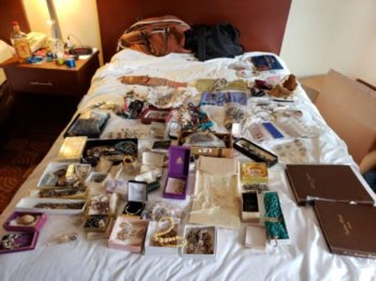 Redding police said they found numerous stolen items at a hotel room in Redding.