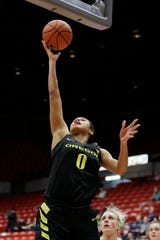 Oregon forward Satou Sabally (0) shoots during the first half of an NCAA college basketball game against Washington State in Pullman, Wash., Friday, Jan. 25, 2019.