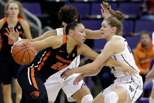 Oregon State's Destiny Slocum, left, tries to drive past Washington's Jenna Moser during the first half of an NCAA college basketball game Friday, Jan. 25, 2019, in Seattle.