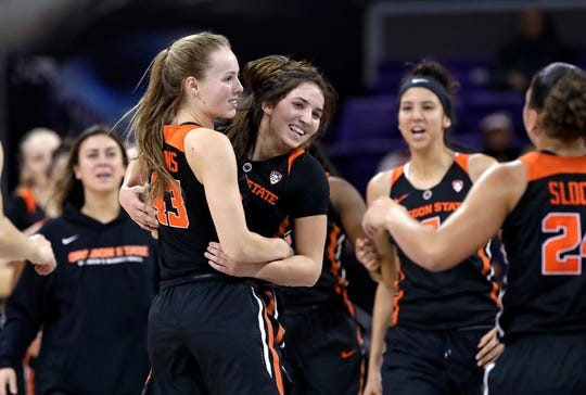 Oregon State's Jasmine Simmons (43) is embraced by Aleah Goodman as a timeout is called during the first half of the team's NCAA college basketball game against Washington on Friday, Jan. 25, 2019, in Seattle.