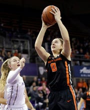 Oregon State's Mikayla Pivec (0) shoots as Washington's Haley Van Dyke watches during the first half of an NCAA college basketball game Friday, Jan. 25, 2019, in Seattle.