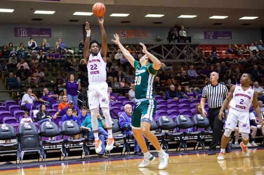 NSU's DeAndre Love (22) fires a shot Saturday.