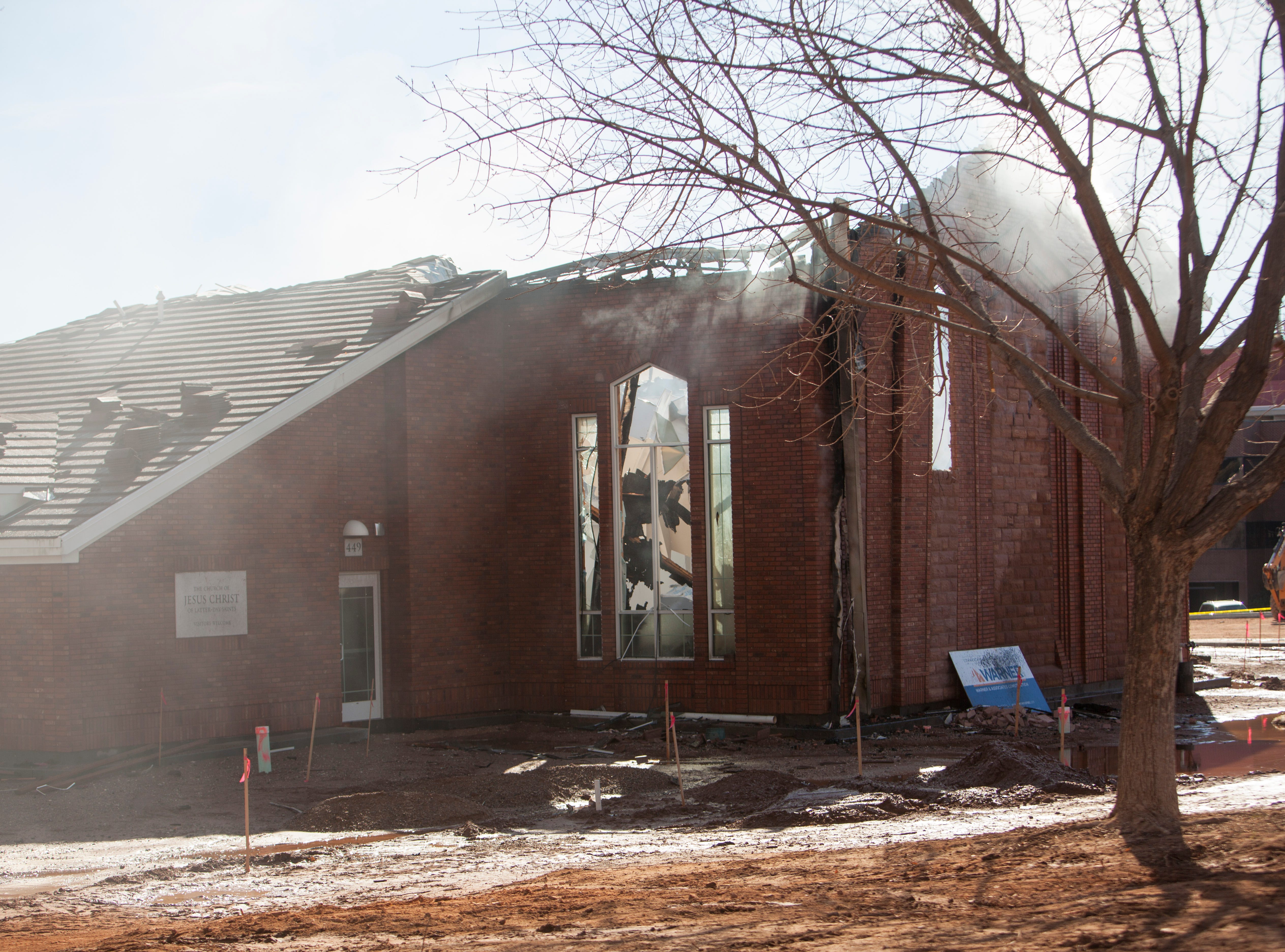 Authorities investigate the the scene of the LDS stake center fire Saturday, Jan. 6, 2019.