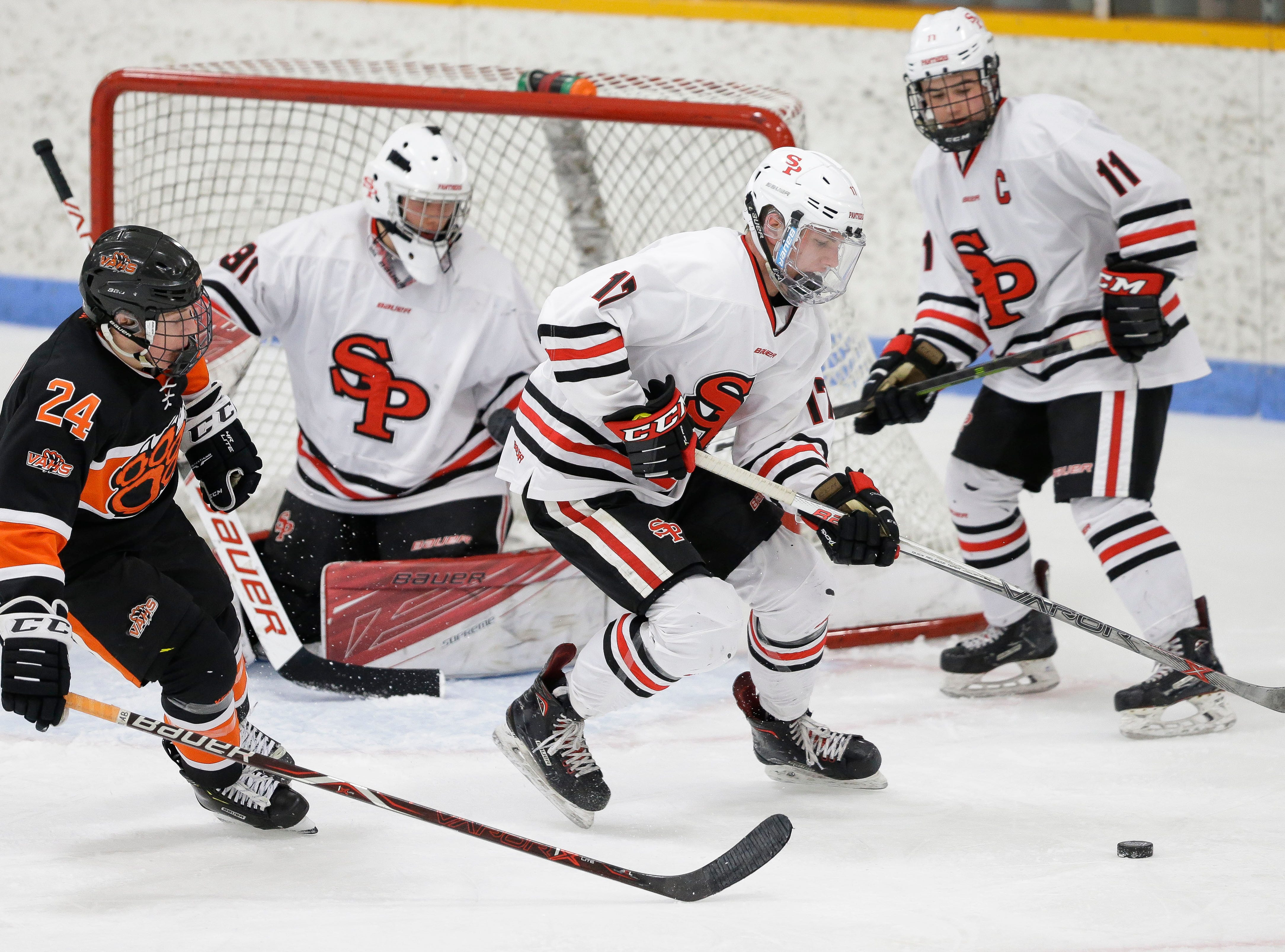 SPASH's Cole Beilke (17) handles the puck in front of his own net against Verona on Saturday, January 26, 2019, at K.B. Willett Ice Arena in Stevens Point, Wis. Tork Mason/USA TODAY NETWORK-Wisconsin