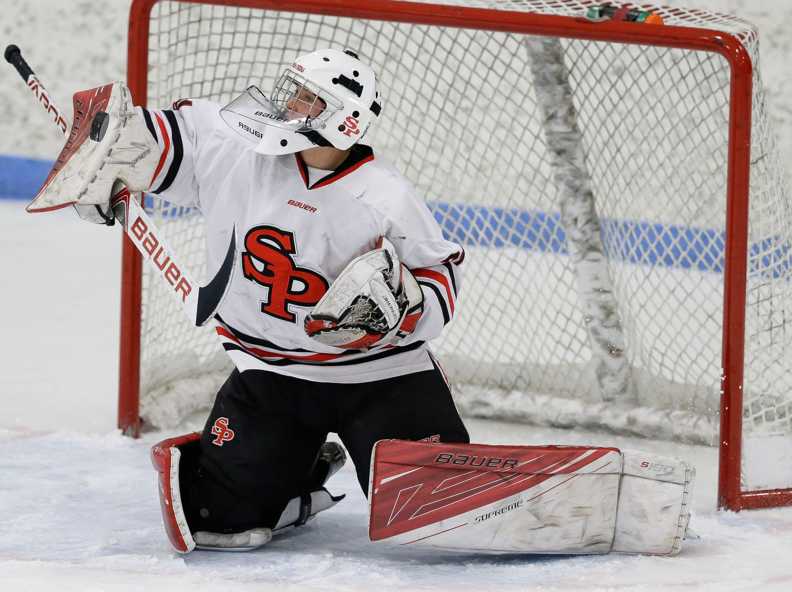 SPASH's Spencer Wierzba (31) makes a save against Verona on Saturday, January 26, 2019, at K.B. Willett Ice Arena in Stevens Point, Wis. Tork Mason/USA TODAY NETWORK-Wisconsin