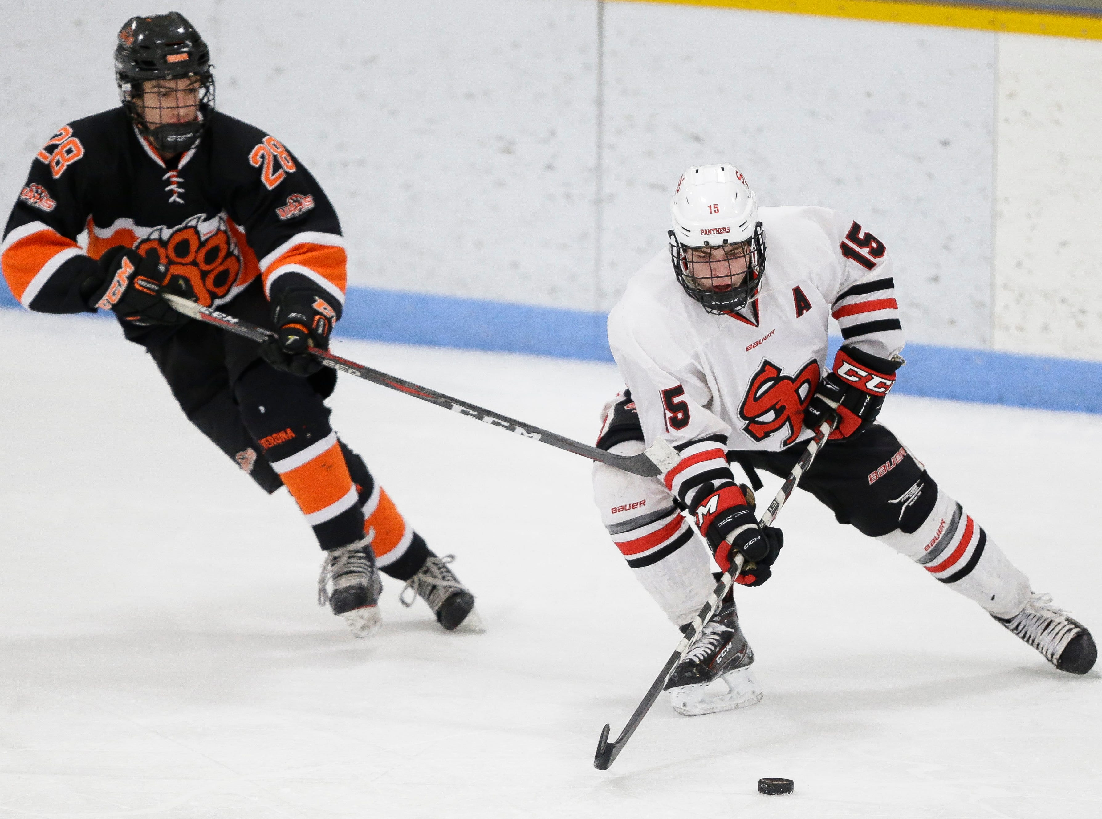 SPASH's Dayne Hoyord (15) handles the puck against Verona on Saturday, January 26, 2019, at K.B. Willett Ice Arena in Stevens Point, Wis. Tork Mason/USA TODAY NETWORK-Wisconsin