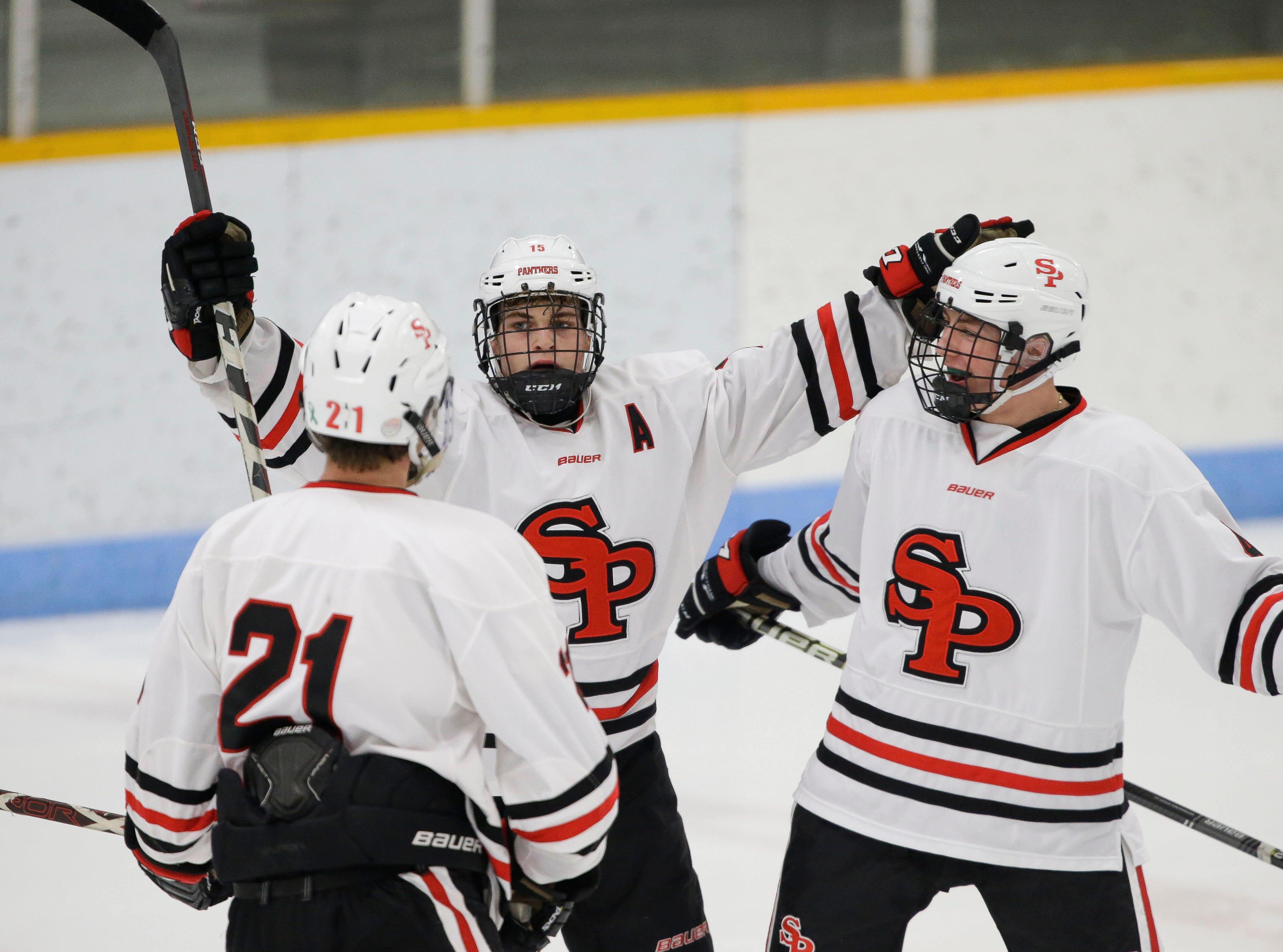 SPASH's Dayne Hoyord (15) celebrates after scoring a goal against Verona on Saturday, January 26, 2019, at K.B. Willett Ice Arena in Stevens Point, Wis. Tork Mason/USA TODAY NETWORK-Wisconsin