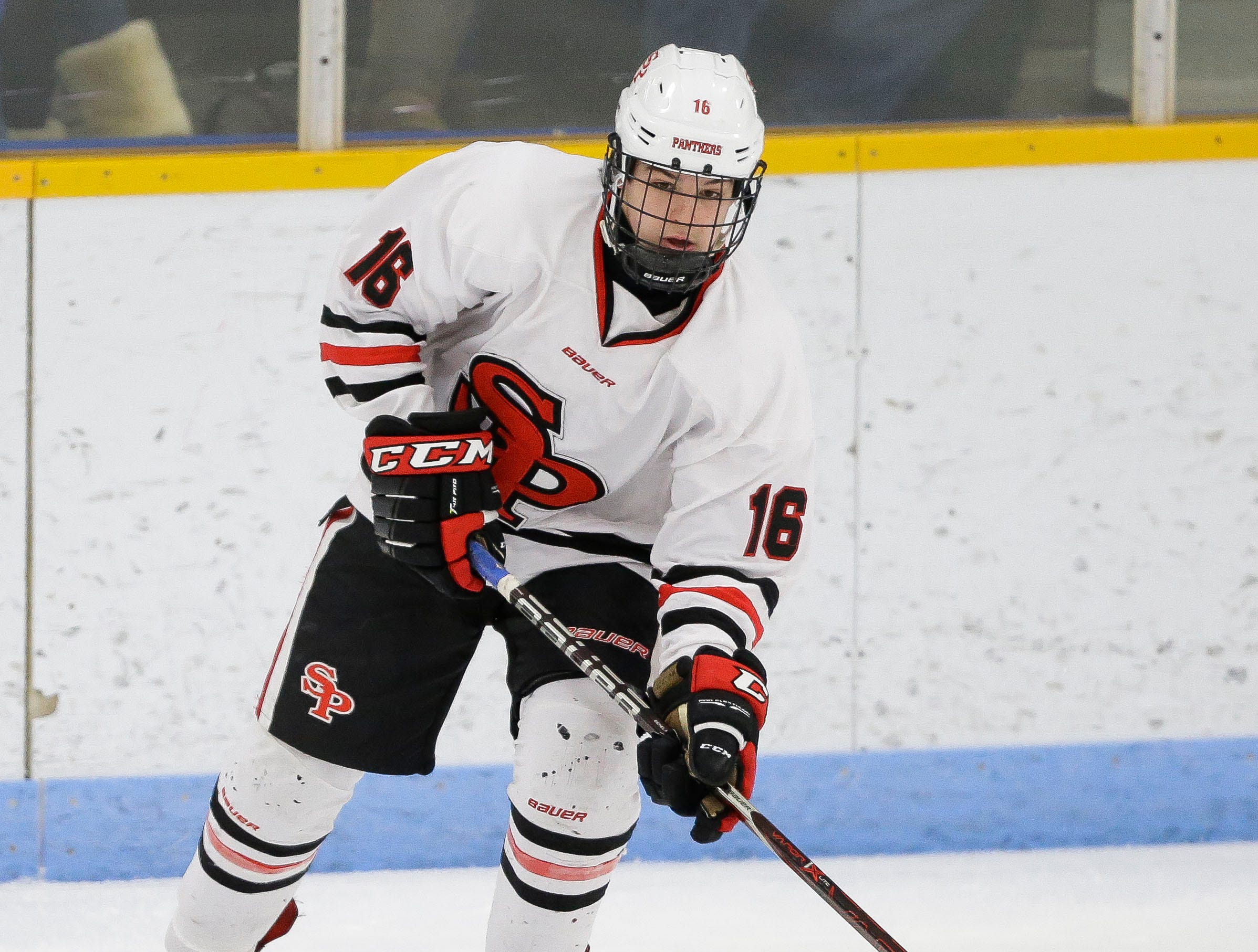SPASH's Nick Norrgran (16) passes the puck against Verona on Saturday, January 26, 2019, at K.B. Willett Ice Arena in Stevens Point, Wis. Tork Mason/USA TODAY NETWORK-Wisconsin