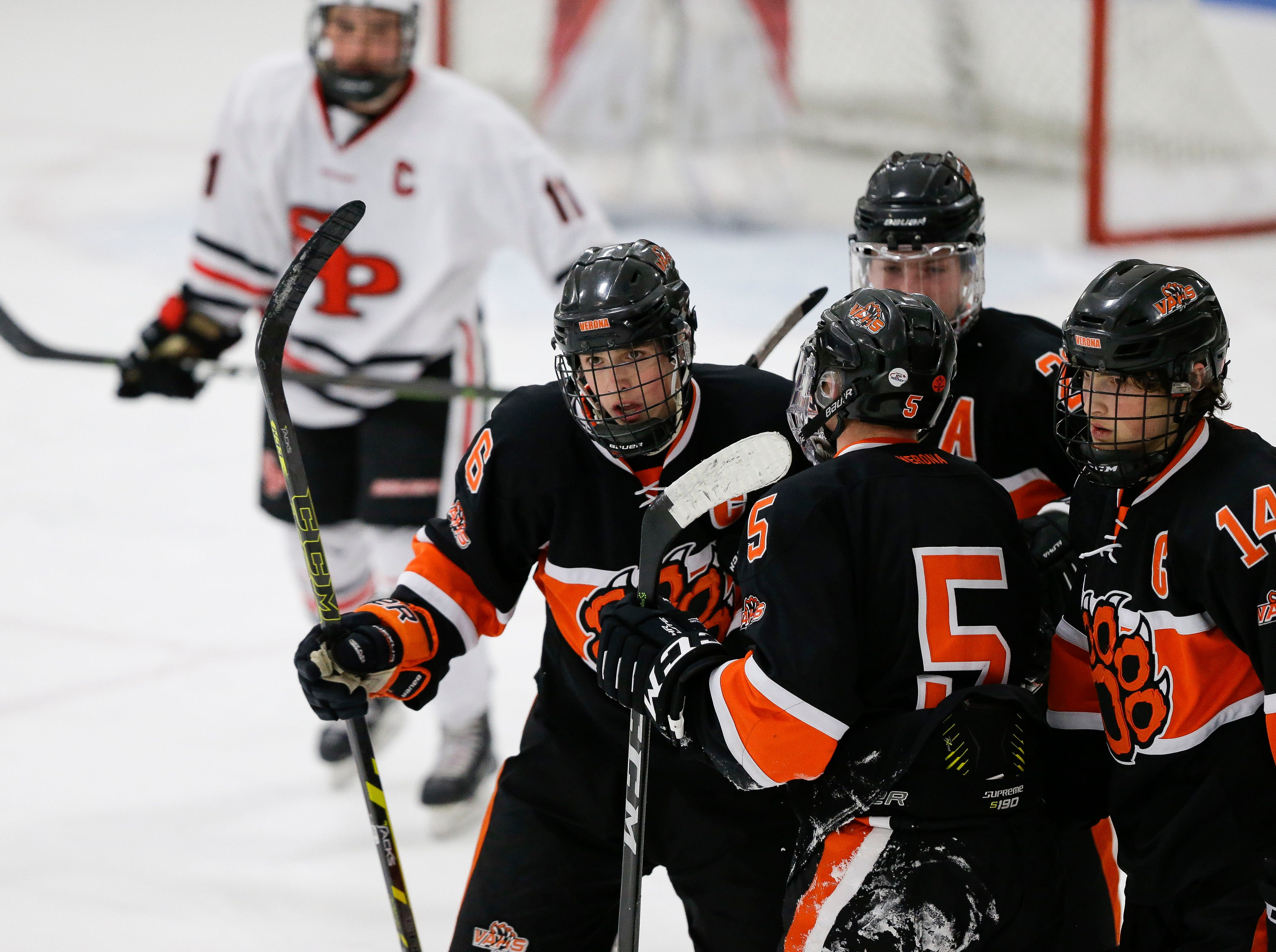 Verona's Kade Binger (6) celebrates with his teammates after scoring a goal against SPASH on Saturday, January 26, 2019, at K.B. Willett Ice Arena in Stevens Point, Wis. Tork Mason/USA TODAY NETWORK-Wisconsin