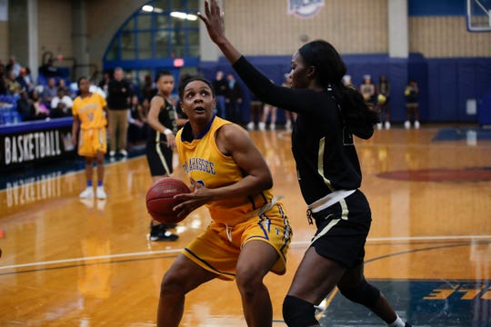 Tallahassee Community College's Jamyra McChristine goes up for a shot in the paint against Chipola College Saturday, Jan. 26, 2019.