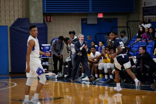 Zach Settembre cheers for his team during a game versus Chipola College on Saturday, Jan. 26, 2019. He was hired as head coach on Tuesday, March 26, 2019 after two months in the interim role.