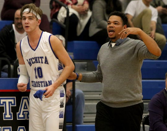 Wichita Christian head basketball coach Josh Johnson sends in Griffin Messer in the game against Christ Academy Friday, Jan. 25, 2019, at Wichita Christian.