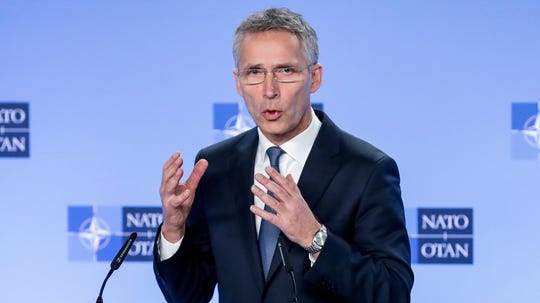 NATO Secretary General Jens Stoltenberg speaks during a media conference after a meeting of the NATO-Russia Council at NATO headquarters in Brussels, Belgium, Jan. 23, 2019.