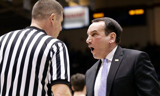 Duke head coach Mike Krzyzewski yells at an official during the first half against Georgia Tech.