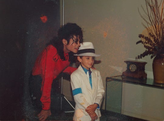 Michael Jackson with Wade Robson, who alleges that he was sexually abused by the pop singer from ages 7 to 14.
