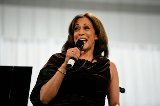 California Sen. Kamala Harris appears at a fundraiser for Alpha Kappa Alpha Sorority Inc., of which she is a member,  Jan. 25, 2019 in Columbia, S.C.