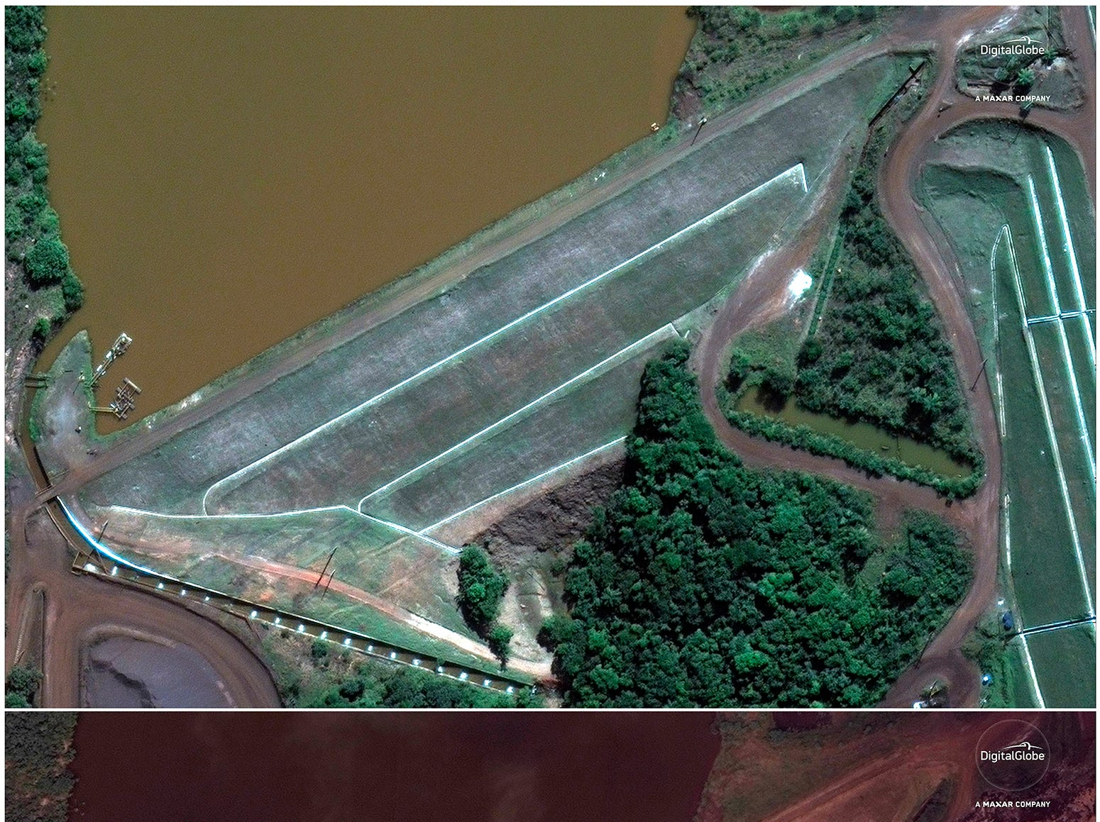This combo of satellite images provided by DigitalGlobe shows an area northeast of Brumadinho, Brazil on June 2, 2018, top, months before a dam collapsed and flooded the area, below, seen on Saturday, Jan. 26, 2019. Brazilian officials suspended the search on Sunday, Jan. 27, for potential survivors of the Jan. 25 dam collapse that has killed at least 40 people amid fears that another nearby dam owned by the same company, Vale, was also at risk of breaching.