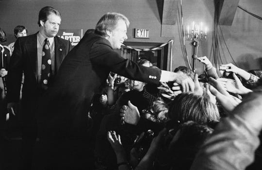 Jimmy Carter after winning the New Hampshire Democratic presidential primary, Feb. 25, 1976, Manchester, N.H.