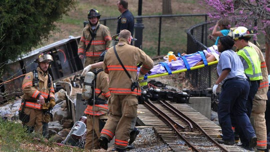 Emergency personnel tend to victims after a children's train wrecked at Cleveland Park in Spartanburg on March 19, 2018.