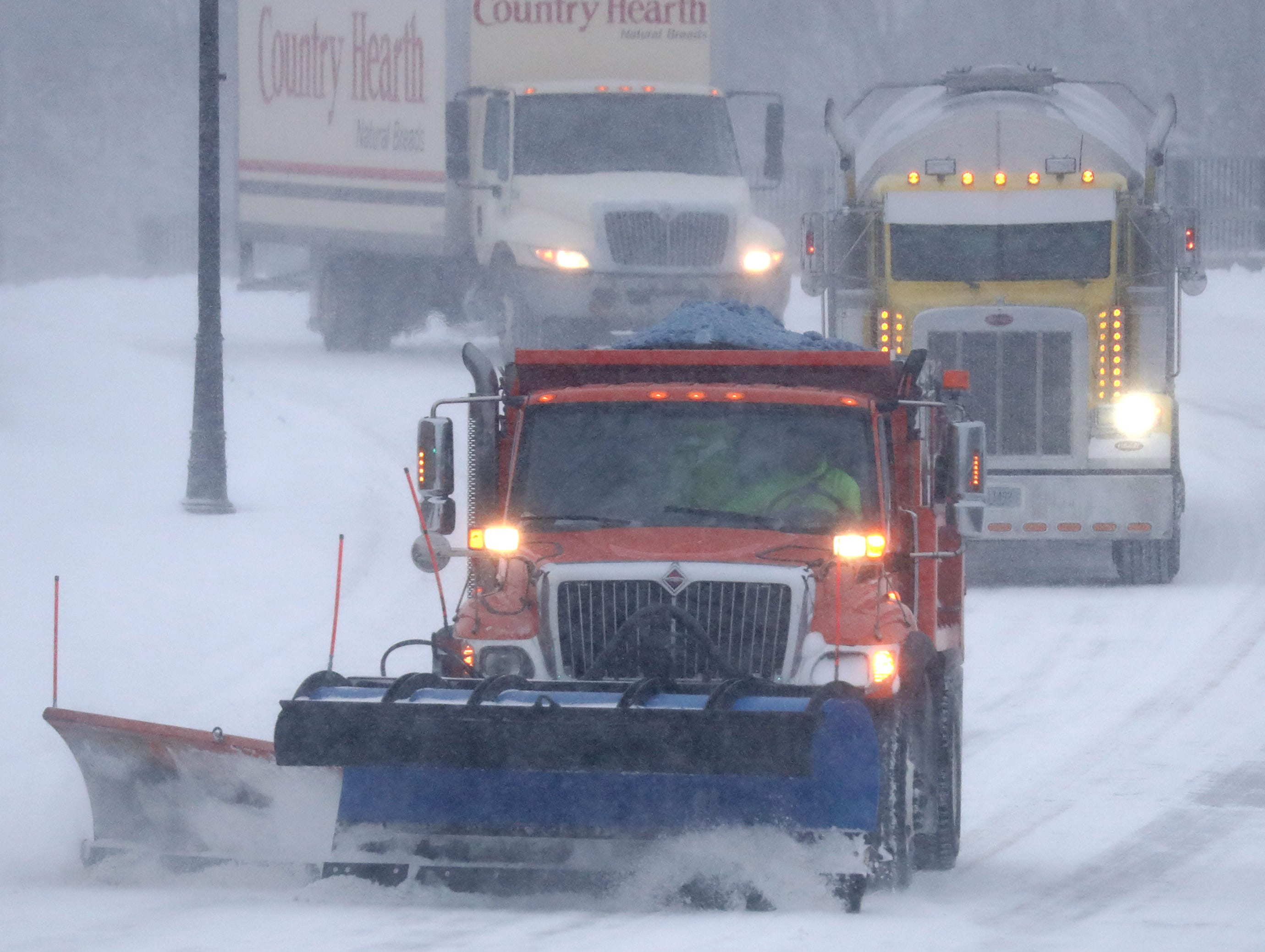 A winter storm moves through Wisconsin on Monday, January 28, 2019, in Kaukauna, Wis.