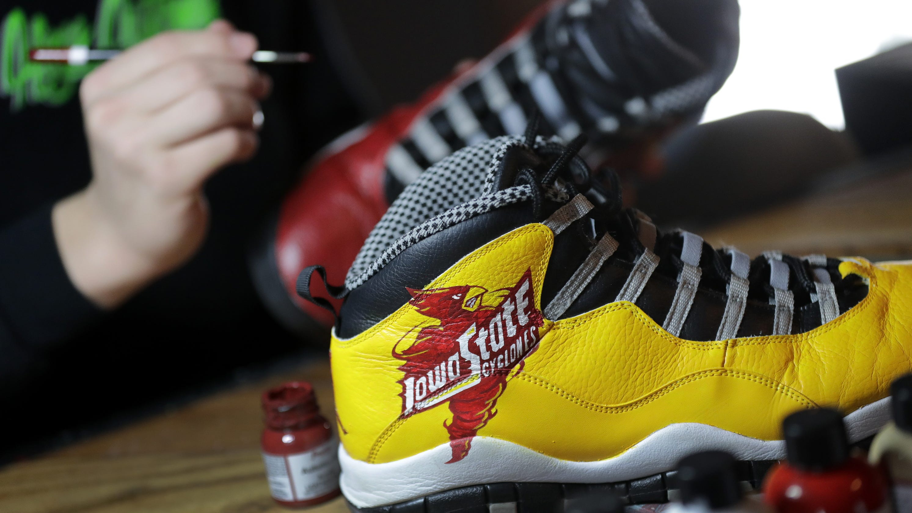 129f8821b78 After learning from YouTube, Omro teen has customized sneakers for NCAA,  NBA players
