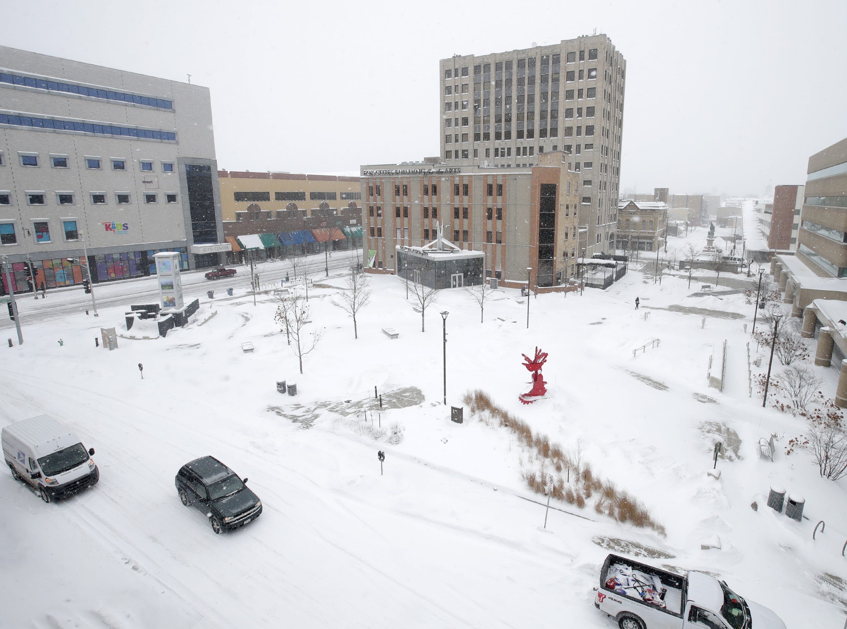 Houdini Plaza during the snowstorm that hit the area Monday, Jan. 28, 2019, in Appleton, Wis.
