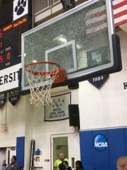 A shattered backboard on Sunday afternoon at Kean delayed Ranney-Gill St. Bernard's by over two hours. The 6 p.m. scheduled tip-off did not happen until 8:15