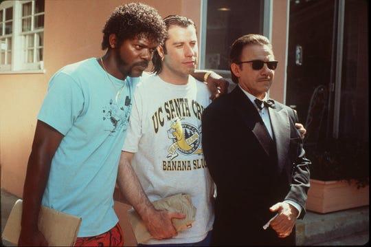 "Samuel Jackson, from left, John Travolta and Harvey Keitel in the film ""Pulp Fiction."""